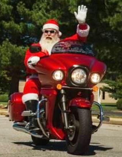 santa on bike